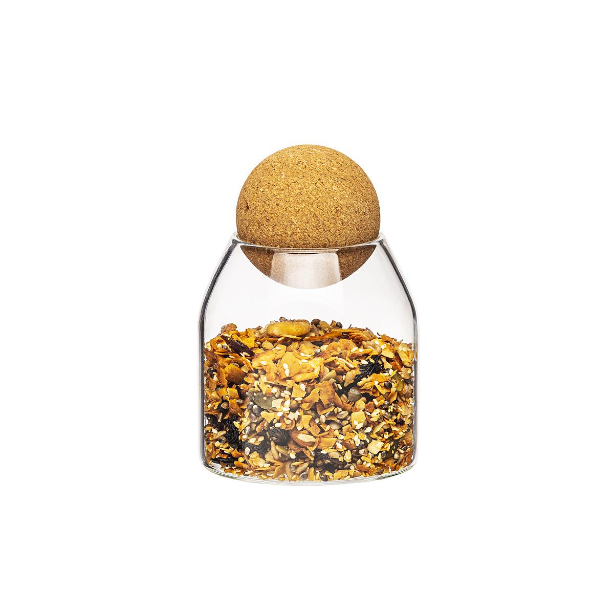 4home Sklenená dóza na potraviny s viečkom Cork, 450 ml