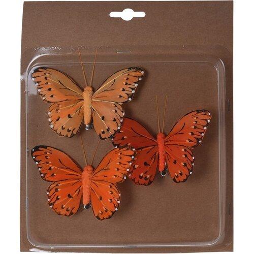 Koopman Sada motýlů na klipu oranžová, 10 cm