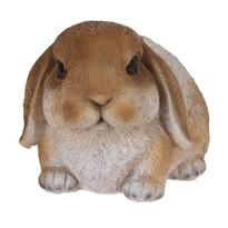 Dekoracja z żywicy królik leżący Bunn brązowy, 15 cm