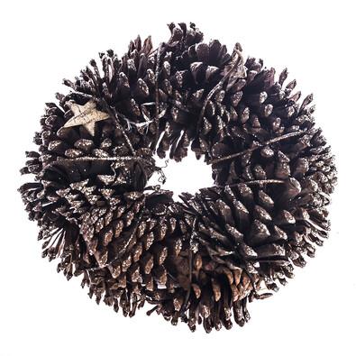 Věnec se šiškami a březovými hvězdami  pr. 25 cm, přírodní