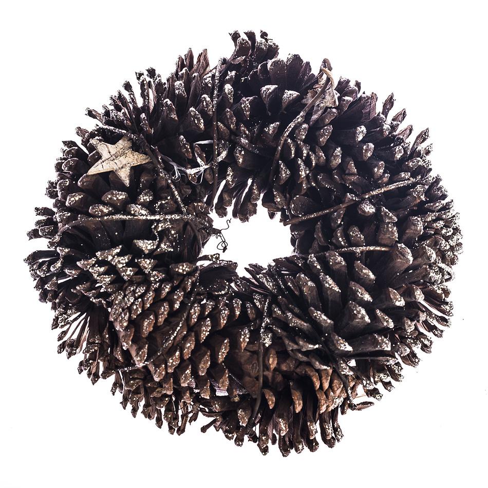 HTH Veniec so šiškami a brezovými hviezdami pr. 25 cm, prírodná