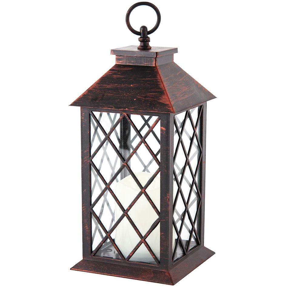 Lucerna s LED svíčkou Costola, černá