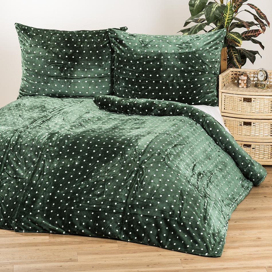 Jahu Povlečení mikroplyš Polka zelená, 140 x 200 cm, 70 x 90 cm