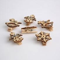 Altom Sada drevených vianočných ozdôb Clips 3,5 cm, 6 ks