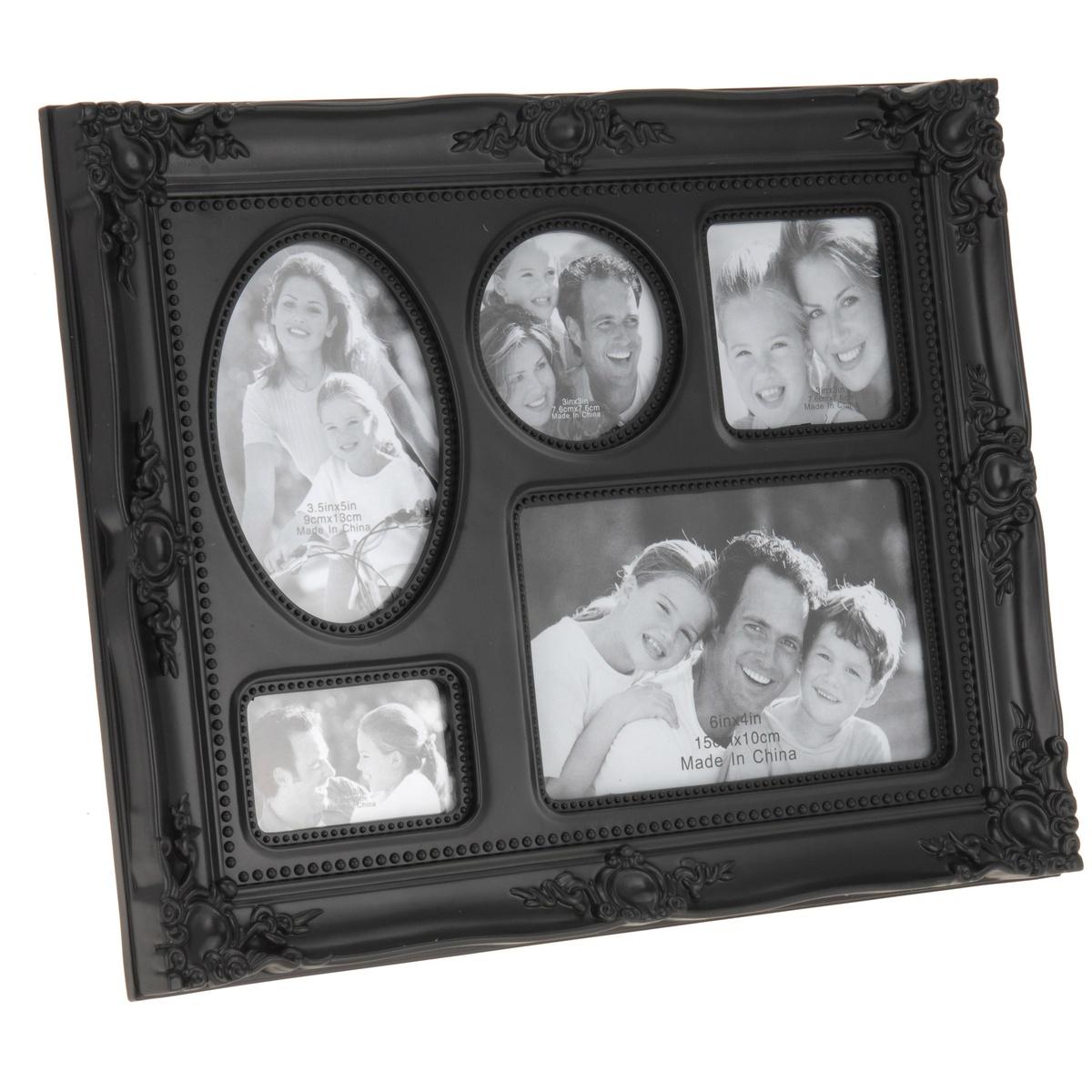 Fotorámček na 5 fotografií čierna,