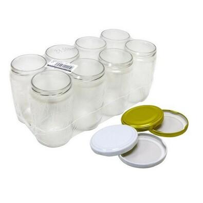 Zavařovací sklenice 8 ks + sada 8 ks víček