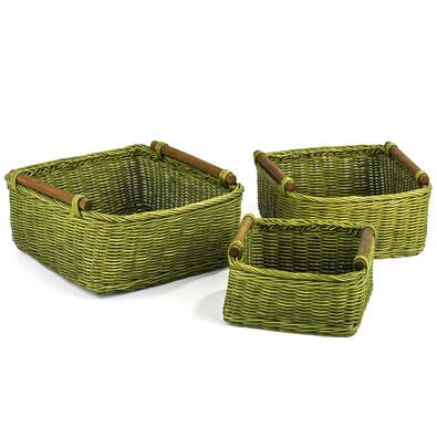 Ratanový košík zelená, 3 ks