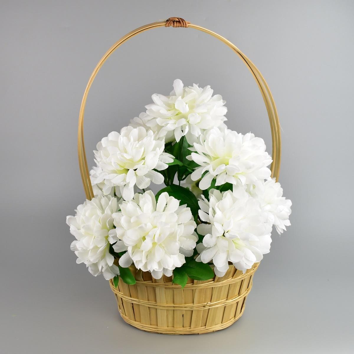 Dušičkový košík zdobený Chryzantéma 20 x 30 cm, bílá