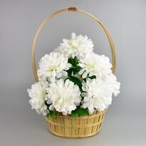 Koszyk zaduszny zdobiony Chryzantema 20 x 30 cm, biały