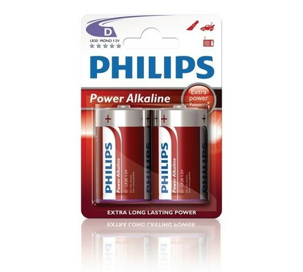 Philips Power Alkaline D 1.5 V alkalické baterie 2 ks