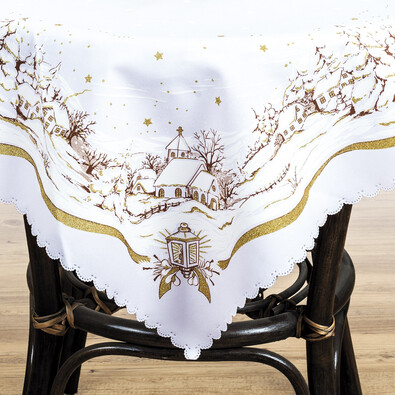 Ubrus Vánoční krajinka zlatá, 75 x 75 cm