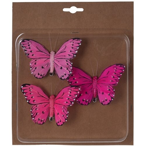 Koopman Sada motýlů na klipu růžová, 10 cm