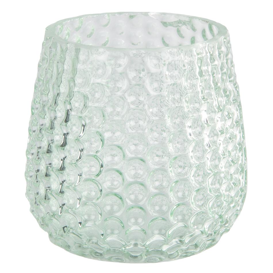 Elegantní skleněný svícen, světle zelená