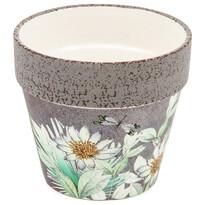 Recipient ceramic de ghiveci Foli, cu flori deprimăvară, 14 cm