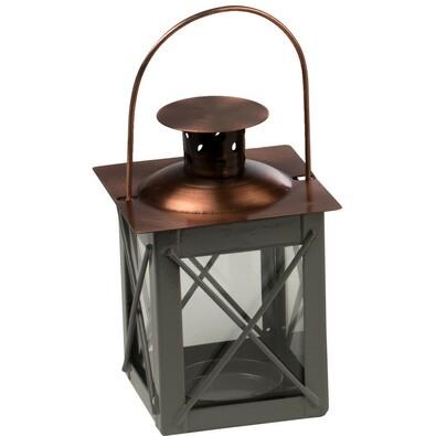 Metalowa latarenka szary, 10 cm