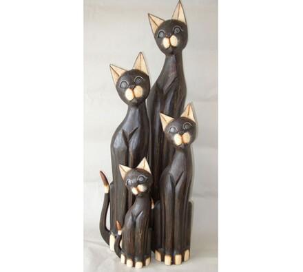 Dřevěná dekorace kočka antik, hnědá, 60 cm