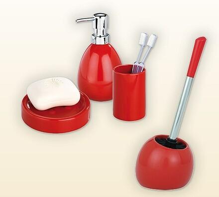 Sada červených koupelnových doplňků, 4 kusy, červená