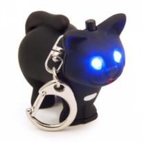 LED klíčenka Kočička, černá