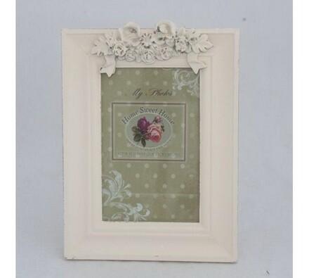 Fotorámeček s růžičkami, bílá, 16,5 x 22 x 2 cm