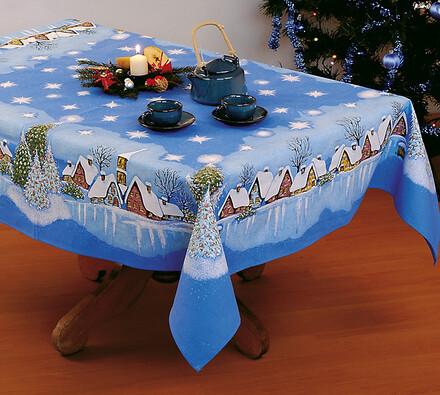 Vánoční ubrus Chaloupky, modrá, 140 x 120 cm