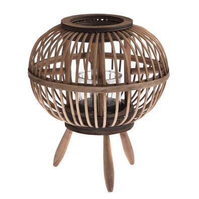 Bambusová lucerna se sklem Horta, 23 x 26 x 23 cm