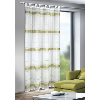 Záclona s poutky Mandy zelená, 135 x 245 cm