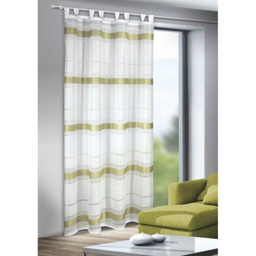 Mandy függöny akasztópántokkal, zöld, 135 x 245 cm
