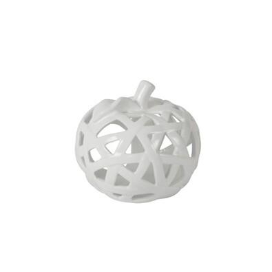 Keramický svícen ve tvaru jablka bílá