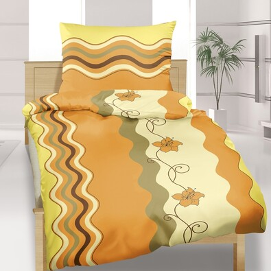 Bavlněné povlečení Vlnka medová, 140 x 220 cm, 70 x 90 cm
