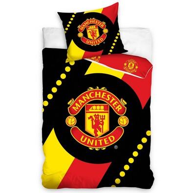 Bavlněné povlečení Manchester United Black, 140 x 200 cm, 70 x 80 cm