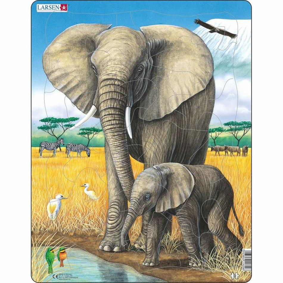 Larsen Puzzle Slon se slůnětem, 32 dílků