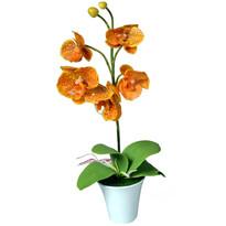 Mű orchidea virágtartóban, narancssárga, 35 cm