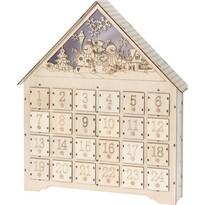 Adventný LED drevený kalendár Snowmen, 37,5 x 43 cm