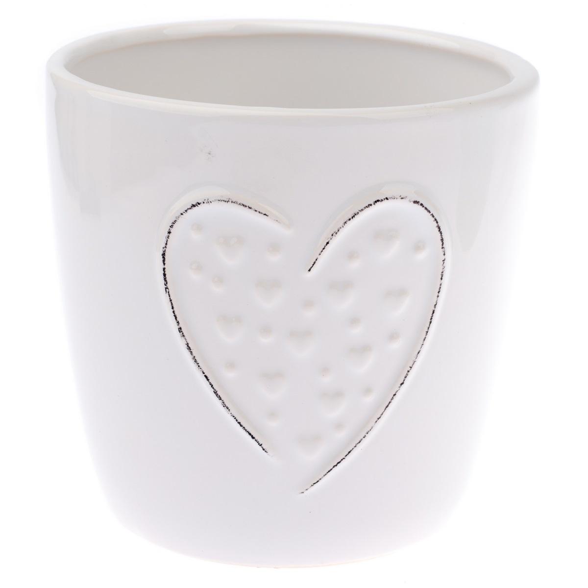 Keramický obal na květináč Little hearts bílá, pr. 13 cm