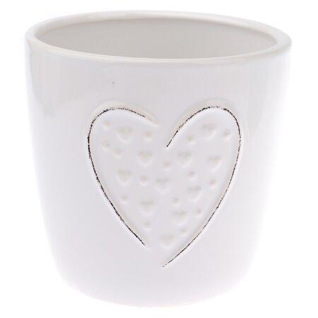 Keramický obal na kvetináč Little hearts biela, pr. 13 cm