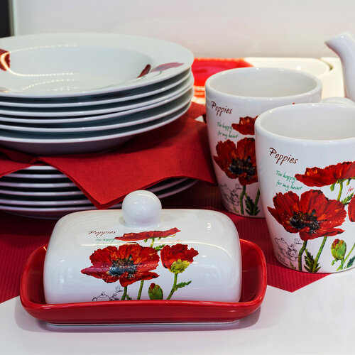 Banquet Red Poppy cukornička s lyžičkou
