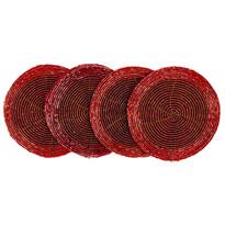 Sport farfurii din mărgele, roșu, 10,5 cm, set 4 buc.