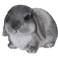 Dekoracja z żywicy królik leżący Bunn szary, 15 cm