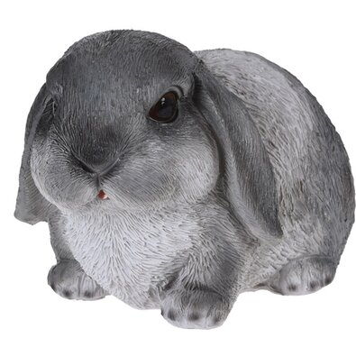 Polyresinová dekorácia ležiaci králik Bunn sivá, 15 cm