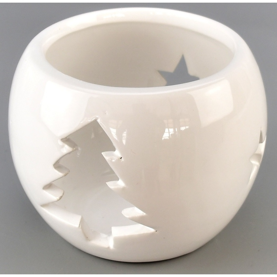 Vánoční svícen na čajovou svíčku Arcadia bílá, 9 cm