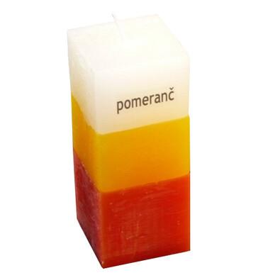 Tříbarevná svíčka s vůní pomeranče kvádr