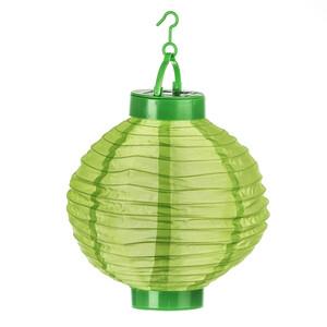 Solární LED lampión zelená, pr. 20 cm