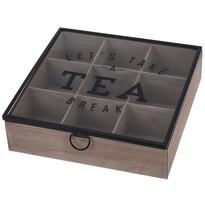 Cutie de ceai, cu capac din sticlă, MDF