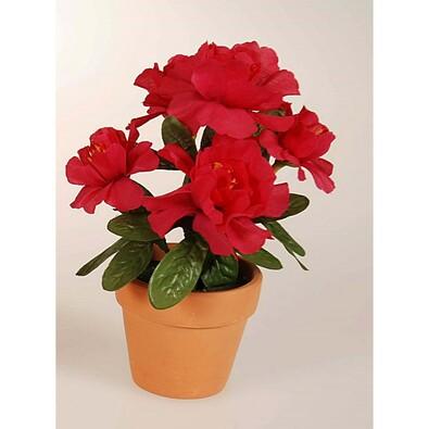 Umělá květina azalka v květináči, cerise, červená