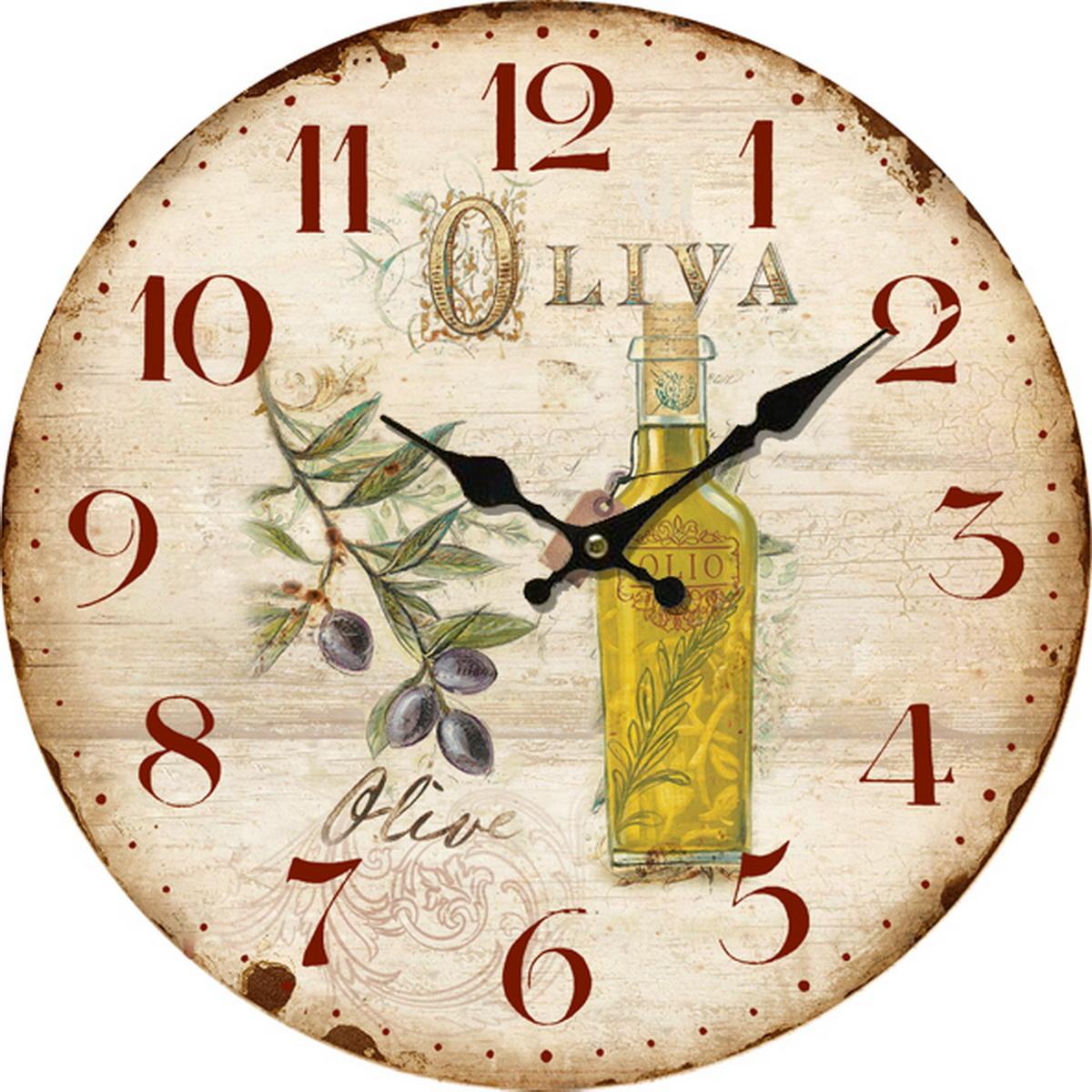 Drevené nástenné hodiny La oliva , pr. 34 cm