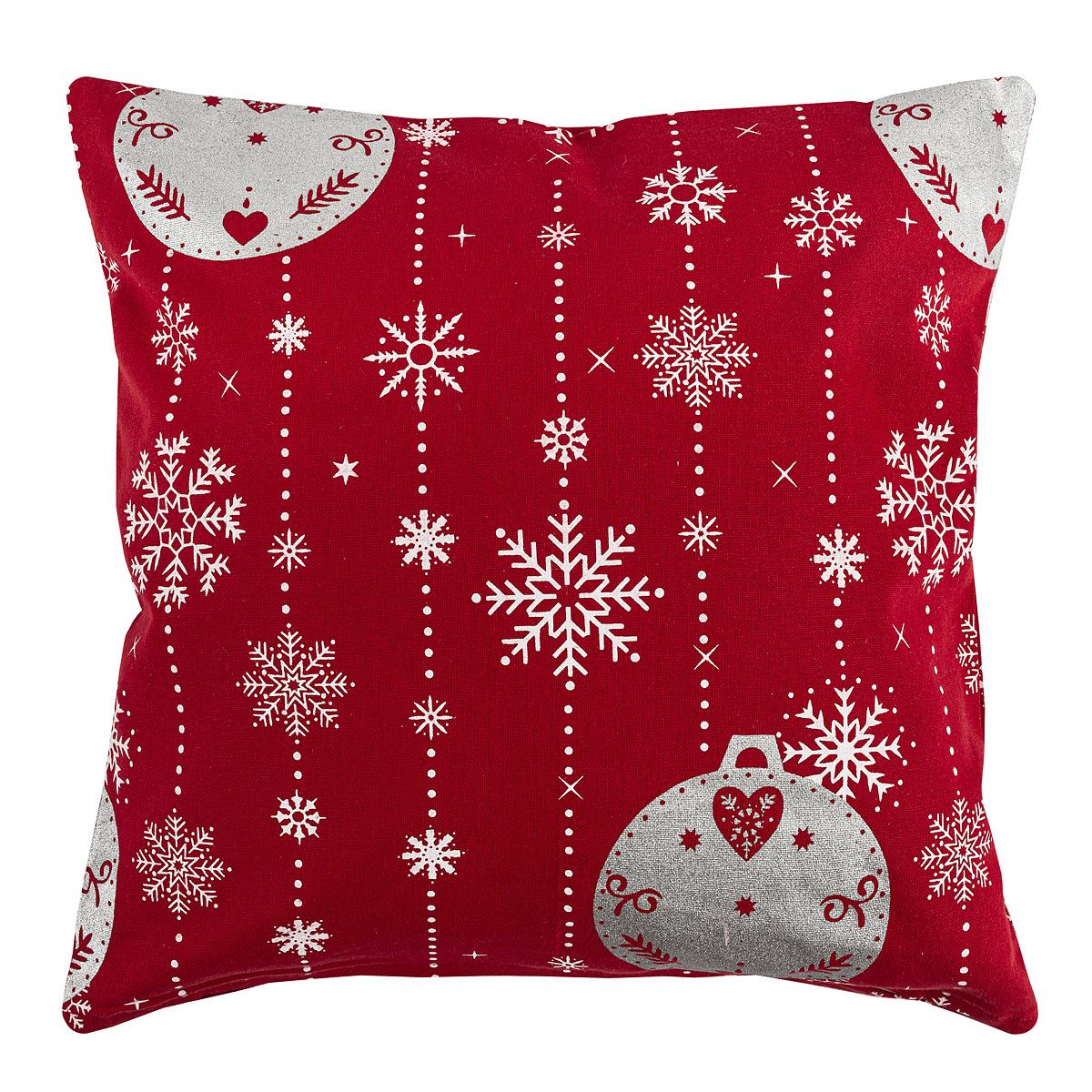Forbyt Vianočná obliečka na vankúšik Vianočné ozdoby červená, 40 x 40 cm