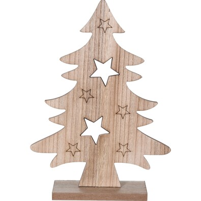 Fából készült karácsonyfa Caulonia barna, 31 cm