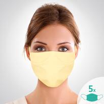 Mască facială de protecție din bumbac  cu elastic16 x 24 cm, set de 5 buc.