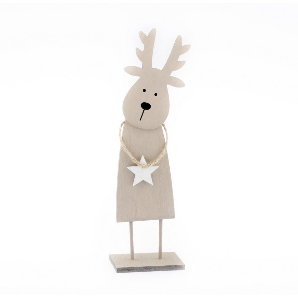 Vánoční dřevěný Sob Rudolf, hnědá