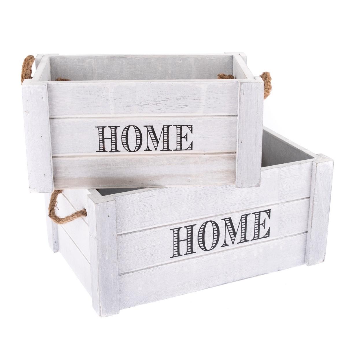 Sada dekoračních dřevěných bedýnek Home 2 ks, sv. šedá